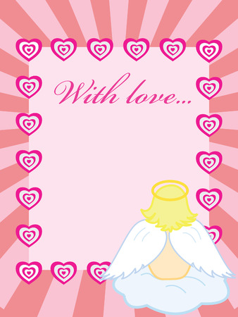 Pink valentine card with baby angel and hearts Vector