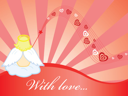 Red loving wallpaper with angel and hearts Vector