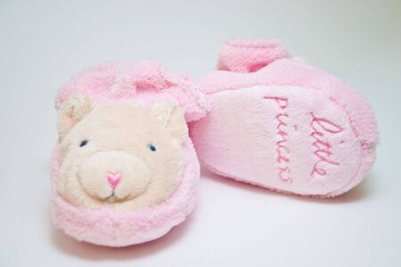 baby's bootee: Pink babys bootee for girl with text little princess