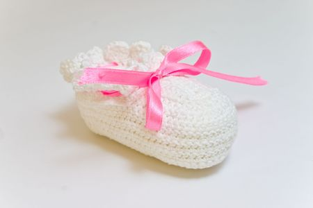 baby's bootee: Hand-made babys bootee for girl