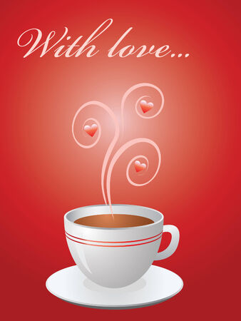 Valentine card with hot cup of coffee on red with hearts Vector