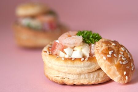 Volauvents filled with fresh shrimp salad photo