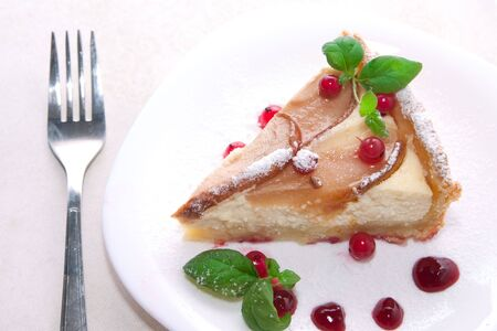 Homemade pie with fresh pears and cottage cheese and red currants photo