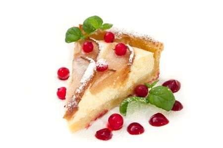Homemade pie with fresh pears and cottage cheese and red currants isolated on white photo