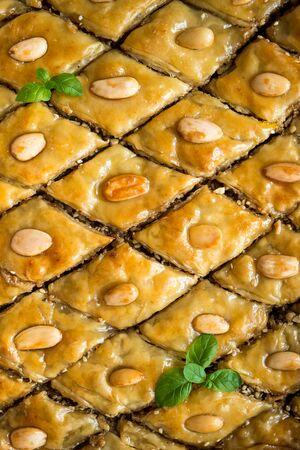 baklava: Background with  honey baklava Stock Photo