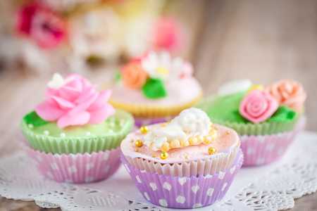 sugarpaste: Shabby chic cupcakes decorated with sugarpaste flowers and figures Stock Photo