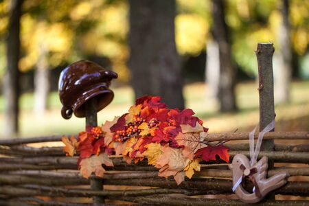 crock: Autumn garden decor with maple leaves, crock and wood bird