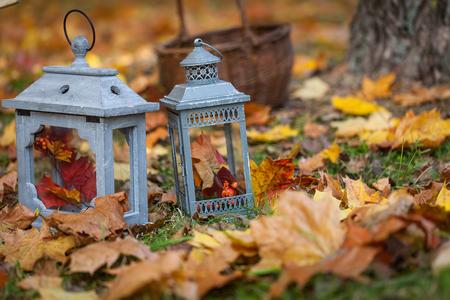 Autumn garden decor with lanterns