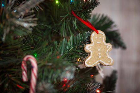 christmas decor: Christmas decor: gingerbread on christmas tree Stock Photo