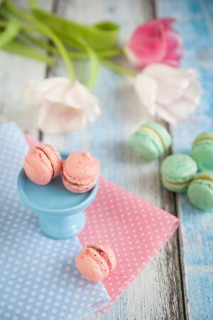 ganache: Vanilla pink and turquoise macarons with strawberry and peanut butter ganache on blue mini stand and tulips on wooden table Stock Photo