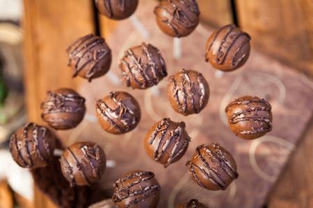 Chocolate cake pops. Sweet picnic autumn park