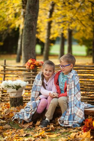 Two friends: a boy and a girl  in autumn park sitting on wooden bench with teddy bear near a fence, vibrant autumn background