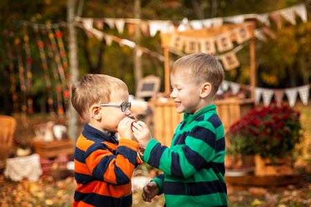 Two brothers near choco bar eating cupcake in the autumn park