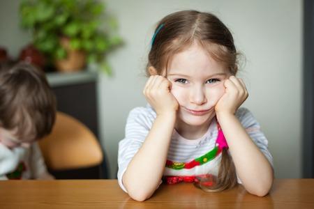 Sad little girl portrait close up Stock Photo