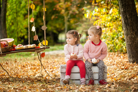 Smiling girls in the autumn park