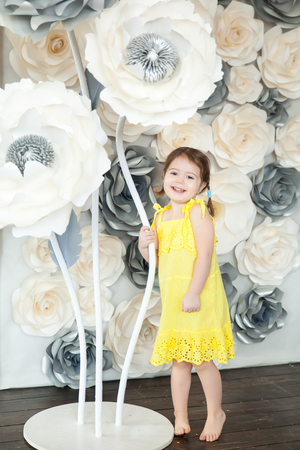 Cute little girl with big paper flowers in a light spring studio cute little girl with big paper flowers in a light spring studio stock photo 94393628 mightylinksfo