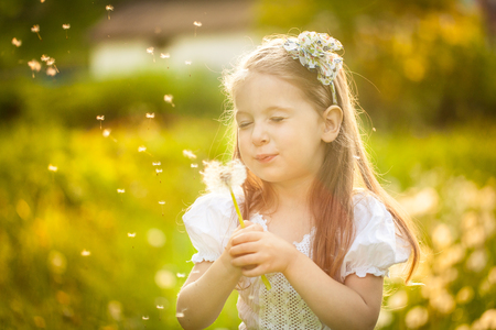 Happy small squinted girl blowing dandelion flower outdoors.