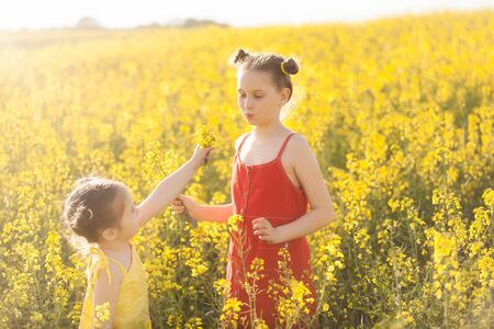 Cute girls in a yellow and red dress having fun in the field of flowering rape. Nature blooms rape seed field. Summer holidays