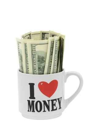 Dollar Bills 100 USD  - American Dollars - in Mug with Heart Stock Photo - 16623220