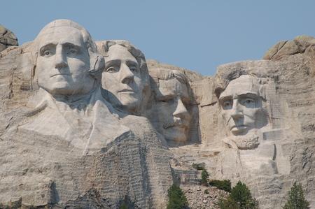 Founding fathers in Mount Rushmore National Memorial - South Dakota 報道画像