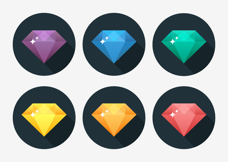 Cartoon vector gem and diamond icon rainbow color isolated on background. Vector Illustration. Illustration