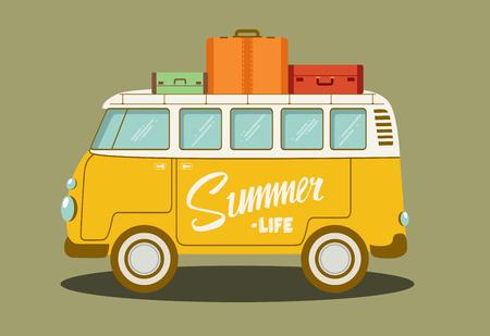 Vector illustration of a retro bus. Vector Illustration. Stock Illustratie