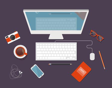 Flat design vector illustration of workstation. Computer desk 向量圖像
