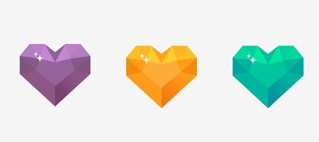 Diamond heart vector illustration in flat design 일러스트