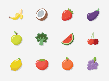 Vector fruit icon set in flat style