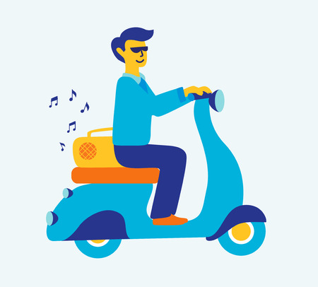 illustration featuring man commuting on retro scooter listening to music