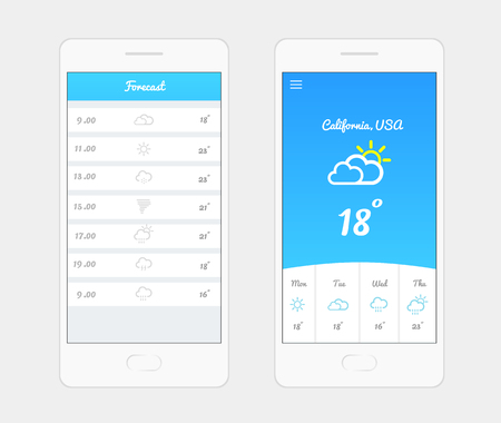 Weather Application User Interface Concept Vector Illustration