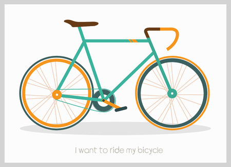 Bicycle vector illustration with I want to ride my bicycle inscription Çizim