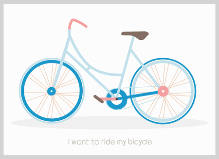Blue bicycle vector illustration with I want to ride my bicycle inscription