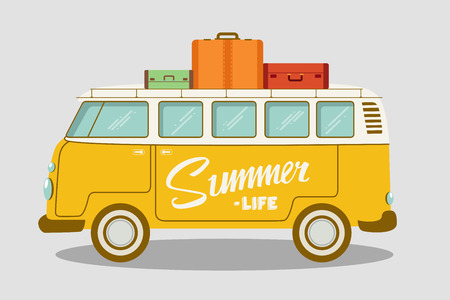 Camping bus or camper van vector illustration. School bus. Vector flat concept on the theme of summer vacation