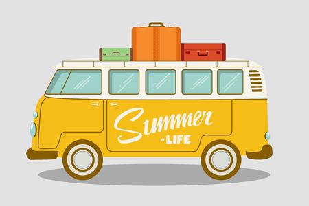 Kampierender Bus oder Reisemobilvektorillustration. Schulbus. Vector flaches Konzept auf dem Thema von Sommerferien