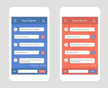 Vector phone chat interface. Sms messages. Speech bubbles. Short message service bubbles. Flat interface
