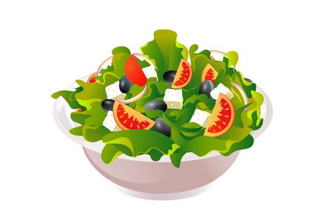 Griechischer Salat Vektor-Illustration auf bunte Darstellung Standard-Bild - 95281108