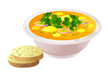 Ceramic bowl of soup with bread on colorful presentation. Illustration