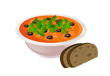 Ceramic bowl of soup with bread on colorful presentation. Vectores