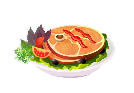 Grilled steak on plate with vegetables on colorful presentation. Illustration