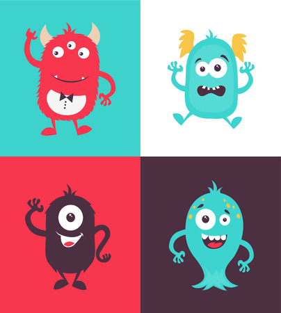 Cartoon Monsters collection on colorful presentation.
