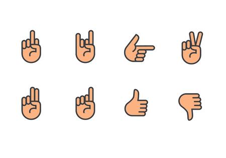 A Vector hands icons set finger counting, stop gesture, fist, devil horns gesture, okay gesture, v sign