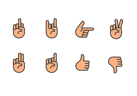 A Vector hands icons set finger counting, stop gesture, fist, devil horns gesture, okay gesture, v sign