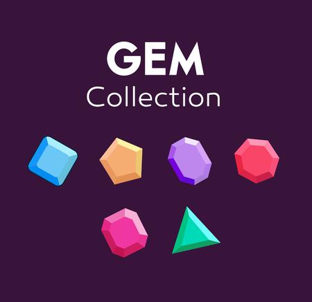Gems, icon gems, ruby, sapphire, emerald brilliant diamond aquamarine Flat design vector illustration vector