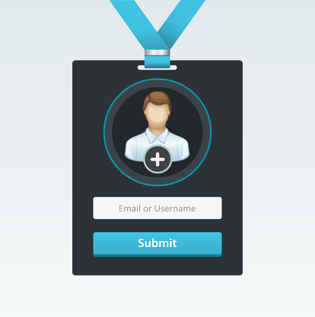 Vector login form in badge. Vector Illustration