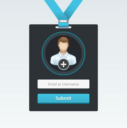 Vector login form in badge. Vector Illustration