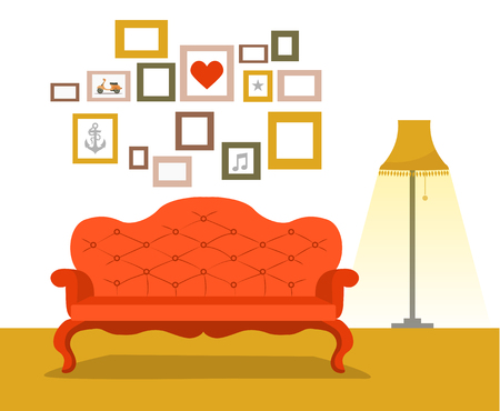 Retro red sofa with lamp in flat style