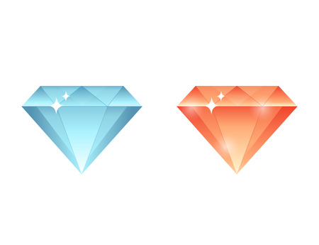 Colorful gems, diamonds, crystals stone collection set Illustration