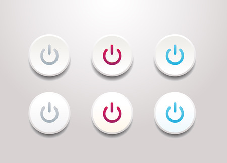 Power button icon set - simple flat design isolated on white background 向量圖像