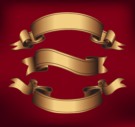 Gold ribbons horizontal banners set flat isolated vector illustration
